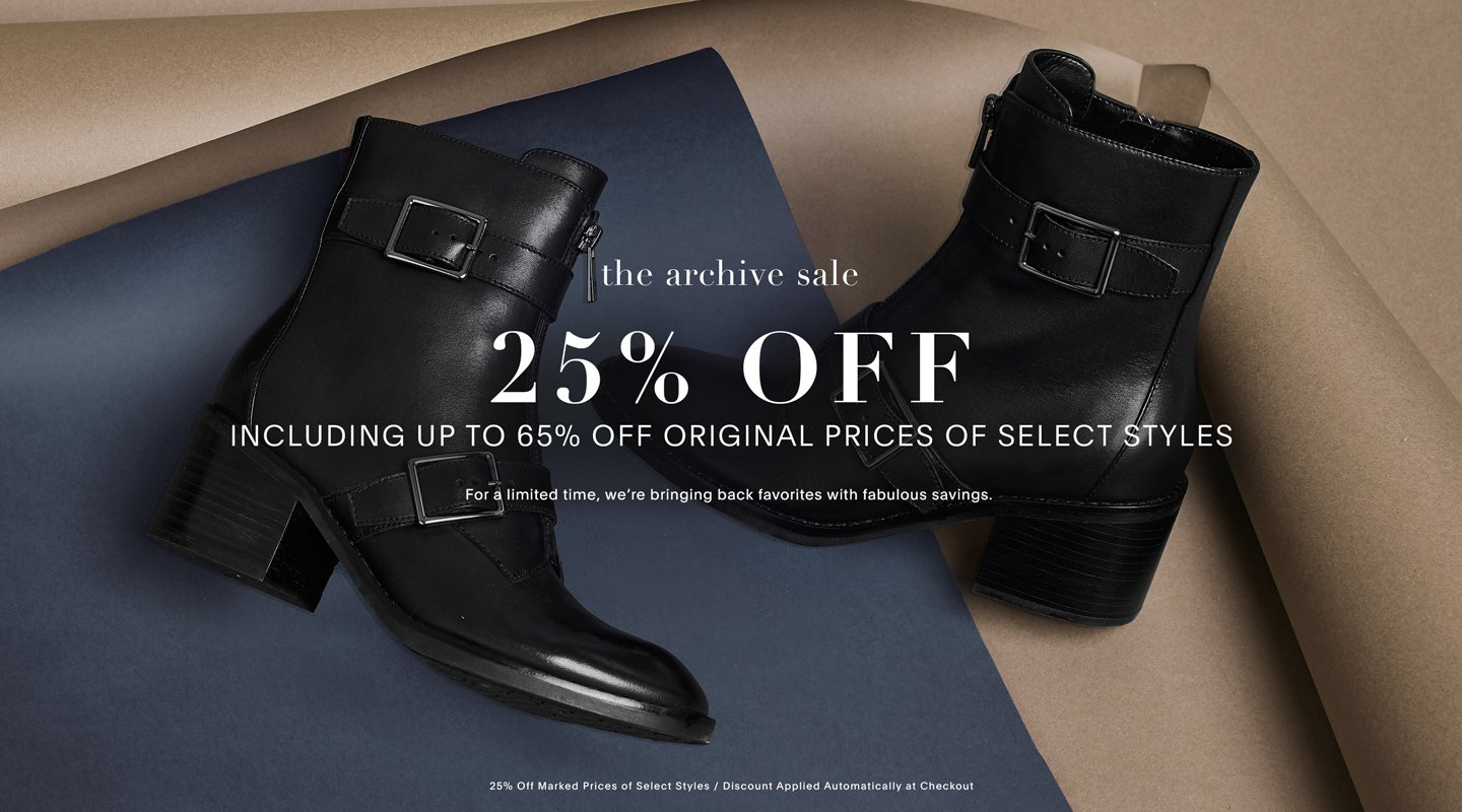 The archive sale. 25% off. Including up to 65% off original prices of select styles. For a limited time, we're bringing back favorites with fabulous savings.
