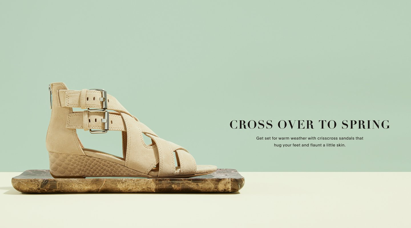 Cross Over To Spring. Get set for warm weather with crisscross sandals that hug your feet and flaunt a little skin.