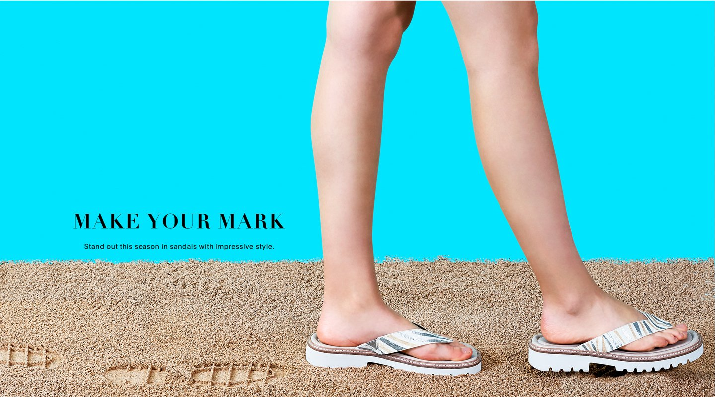 Make Your Mark. Stand out this season in sandals with impressive style.